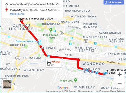 ruta para llegar del aeropuerto del cusco a la plaza de armas